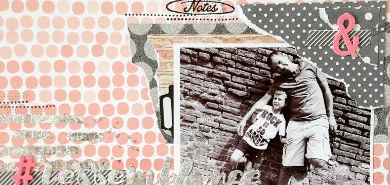 Exemple de page réalisée avec les flocons Nuvo Gilding Flakes