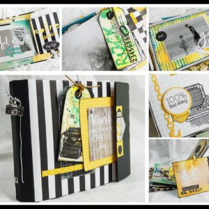 Kit Mini-Album «Vivre le Moment Présent» Technique Les Brushos+ Les Distress Oxide
