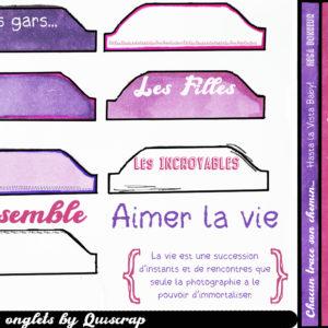 Planche de dies-cut Les Onglets by Quiscrap
