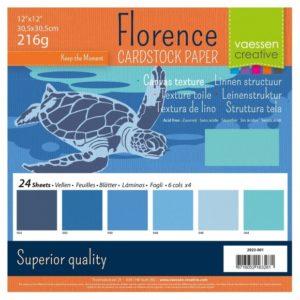 Lot de 24 Cardstock Unis – 6 Coloris – Nuance de Bleu
