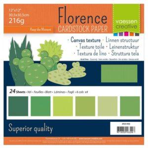 Lot de 24 Cardstock Unis – 6 Coloris – Nuance de vert