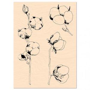 Tampon bois Fleurs de Coton Collection Woodland Les Ateliers de Karine