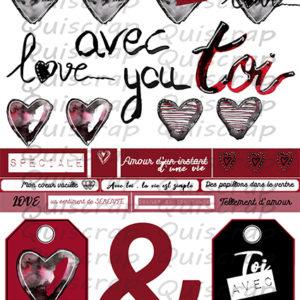 Planche Dies-Cut De Tout Mon Coeur By Quiscrap