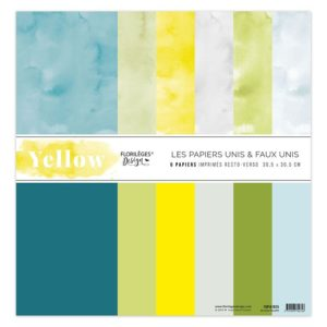 Kit de 6 papiers unis Yellow Florilèges Design