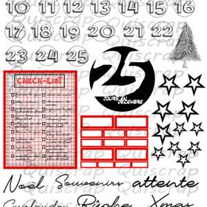 Planche de Dies-cut 25 jours en Décembre By Quiscrap
