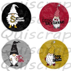Lot de 4 Badges «Les 4 Lutins Fantastiques» By Quiscrap