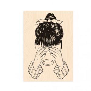 Tampon bois Bienvenue chez moi Jeune fille au bol -Les Ateliers de Karine