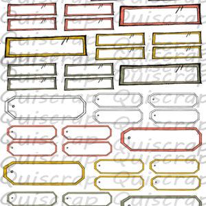 Planche de Dies-cut Une Tonne d'étiquettes By Quiscrap