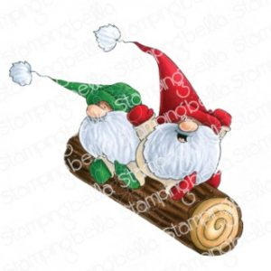 Tampon two gnomes on a log Stamping Bella